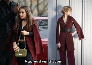 erde dizi kıyafetleri 12 bölüm Melek Bengü Soral Borda pelerin ceket markası
