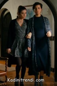 cesur ve güzel dizi kıyafetleri 5. bölüm sühan uzun hırka triko elbise kombini