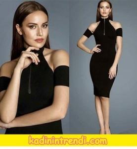 Ölene Kadar Fahriye Evcen'in giydiği siyah omuz dekolteli elbise markası Forever New.