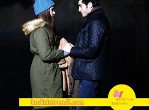 Aşk Laftan Anlamaz 28 Bölüm kıyafetleri Hande Erçel haki mont markası Boyner