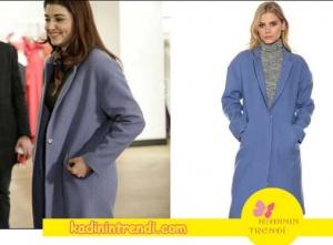Aşk Laftan Anlamaz 28 bölüm Hayat'ın giydiği mavi kaban markası Boyner.
