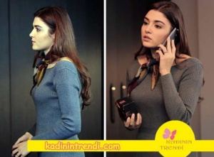 Aşk Laftan Anlamaz dizi kıyafetleri son bölüm Hande Erçel Hayatın gri triko elbisesi boyner-den