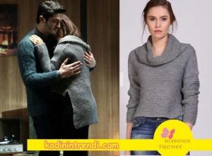 Aşk Laftan Anlamaz dizisinin 28. bölümünde,Hayat'ın giymiş olduğu gri kazak markası Boyner