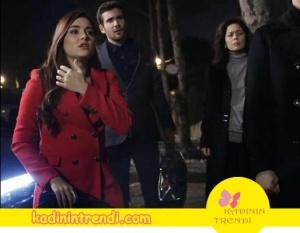 Aşk Laftan Anlamaz Hayat'ın kırmızı kabanı Trendyol.