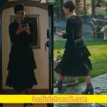 Cesur-ve-Güzel-9-bölüm-dizi-kıyafetleri-Sühanın giydiği siyah pileli elbisesi