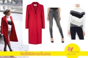 Hayat Şarkısı Dizisinde Hülyanın giydiği kırmızı kaban İpekyol. Hülyanın giydiği boğazlı kazak ve alissa jean markaları Mavi.