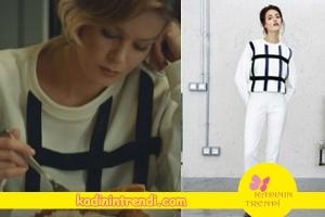 Hayat şarkısı 37 bölüm dizi kıyafetleri Hülyanın giydiği siyah beyaz triko kazak Aslı Filinta markadır.