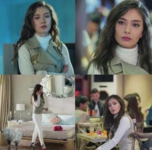 Kara Sevda Neslihan Atagül - Nihan'ın Beyaz pantolon beyaz kazak bej yelek kombini