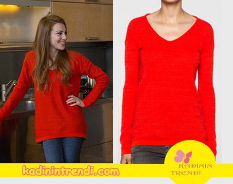 Kiralık Aşk Final Bölüm kıyafetleri Defne'nin giydiği kırmızı triko Calvin Klein.