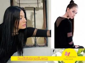 No 309 dizisinin 32 Bölümünde Lalenin giydiği kolları tüllü siyah bluz markası Mudo.