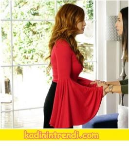 Mine-TUGAY-Asuman-kırmızı ispanyol kol bluzu officialctiy marka