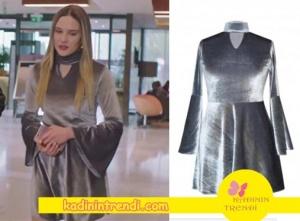 Paramparça 88 bölüm kıyafetleri hazalın giydiği kadife elbise