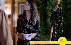 Adı-Efsane-1-bölüm-dizi-kıyafetleri-Seçil karakterinin giydiği siyah yaprak desenli empirme uzun elbise markası Perspective