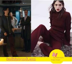 Cesur ve Güzel 13 Bölüm Dizi Kıyafetleri Sühan bordo ispanyol pantolonun markası House Of Ogan.