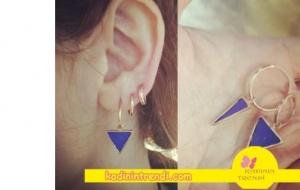 Cesur ve Güzel 13 Bölüm Dizi Kıyafetleri Sühan mavi üçgen küpe markası Zeckie.