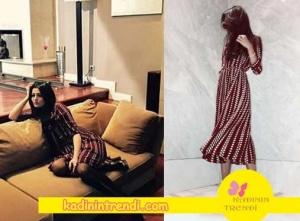 Meryem'in bordo beyaz puantiyeli elbisesi Mergim Online 'dan