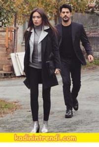 Kara Sevda Nihan Siyah kaban siyah pantolon gri kazak kombini.