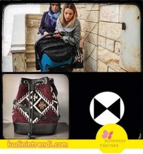Paramparça-89-Bölüm-kıyafetleri-Cansu-bohem kilim desenli çanta Blackribbon marka.