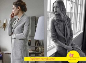 Paramparça-89-Bölüm-kıyafetleri-Dilara gri uzun hırka Stefanel markadır.