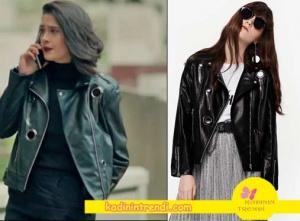 Poyraz-karayel-80-Bölüm-kıyafetleriEda-siyah-deri-ceket-Twist-marka