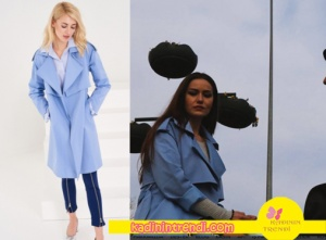 lene kadar dizisinde Fahriye Evcen giydiği mavi Trençkot Trendyol Milla markadır