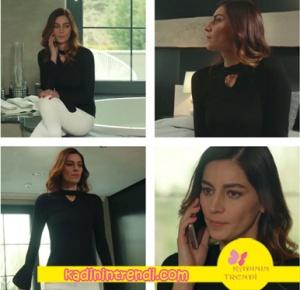 BŞAG-belgin- siyah şerit yakalı bluzu on Fasion marka