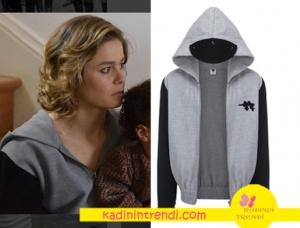 Hayat Şarkısı Hülya gri siyah swietshirt Lidyana da satılıyor. Ceketin markası Selin Baklacı.