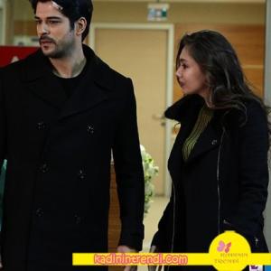 Kara-Sevda-59-bölüm-kıyafetleri-Kara-Sevda Nihan'ın siyah kabanı ve haki triko kazağı hangi marka