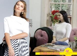 No-309-36-Bölüm-Dizi-Kıyafetleri-Demet-Özdemir--Lalenin bir omuzu açılabilen beyaz triko bluzu İpekyol Marka