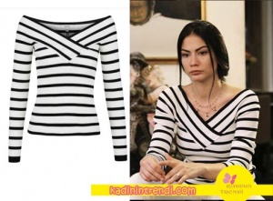 No 309 dizi kıyafetleri 37 Lale siyah beyaz çizgili Triko İpekyol Marka