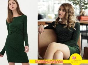 No 309 dizisinde Pelinsu dar yeşil elbise Koton marka