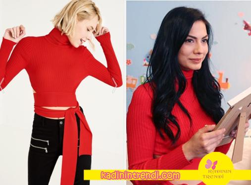 No-309-kıyafetleri--37-lale-kırmızı-kemerli-kazak-Trendyol-Milla