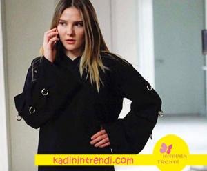 Paramparça Final Kıyafetleri Hazal kapşonlu siyah sweatshirt Suud İstanbul marka.