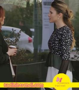 Alina Boz Paramparça Hazal Kıyafetleri Hazal siyah beyaz pileli elbise Sema Gürışık