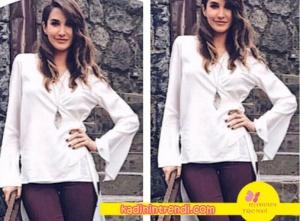Seçil karakterinin giydiği arkası uzun beyaz gömlek Suud İstanbul marka.