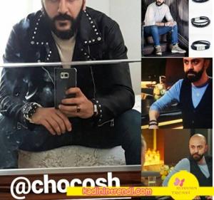 Paramparça Damir'in siyah deri bilekliği chocosh marka.