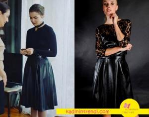 Ölene Kadar 13 Bölüm dizi kıyafetleri Fahriye Evcen'in giydiği Deri Etek markası Esra Gürses