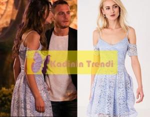 Bu Şehir Arkandan Gelecek Dizisi 15 Bölüm Derin mavi gipürlü Elbise markası Trendyol
