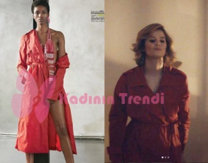 HAyat Şarkısı Kıyafetleri Burcu Biricik kırmızı turuncu yağmurluk Out Kast People marka.