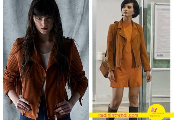 Cesur ve Güzel Tuba Büyüküstün turuncu elbise ve taba püsküllü ceket Hause Of Ogan Sponsorluğundadır.