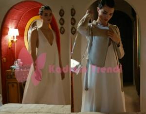 Cesur ve Güzel Tuba Büyüküstün'ün Mihriban'ın davetinde giydiği beyaz elbise ve krem rengi ceket markaları araştırılıyor