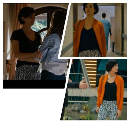 Cesur ve Güzel dizisinde Sühanın giydiği V yaka siyah tişört Sinu marka