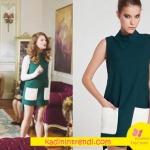Fazilet Hanım ve Kızları dizi Kıyafetleri 4 Bölüm Beren beyaz cepli Yeşil Elbise markası Merve Topal