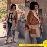 Fi 4. bölümde Ceren'in giydiği mavi Jean beyaz kazak ve taba krem kaban kombin