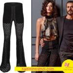 Fi dizi tanıtımında Berrak Tüzün Atac file pantolon markası Raisa&Vanessa