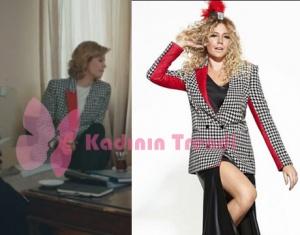 Hülya'nın giydiği yaka ve kolları kırmızı kareli ceket Jaquette markadır