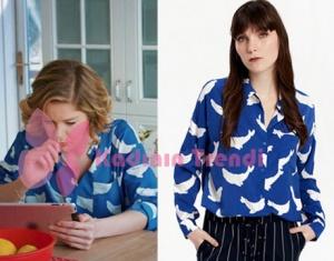 Hayat Şarkısı 48 bölüm Hülya yunus desenli mavi gömlek Twist