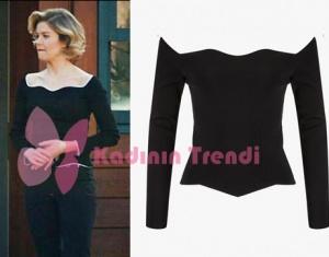 Hayat Şarkısı 48. bölümde Hülya'nın giydiği omuzları açık siyah bluz Twist marka.