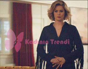 Hayat Şarkısı dizi kıyafetleri 50 Bölüm Hülya Kolları püsküllü siyah ceet Twist
