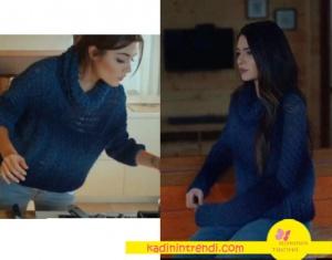 Kara Sevda dizisinde Melisa Pamuk'un giydiği mavi triko kazak Nataliea Kolazyon marka